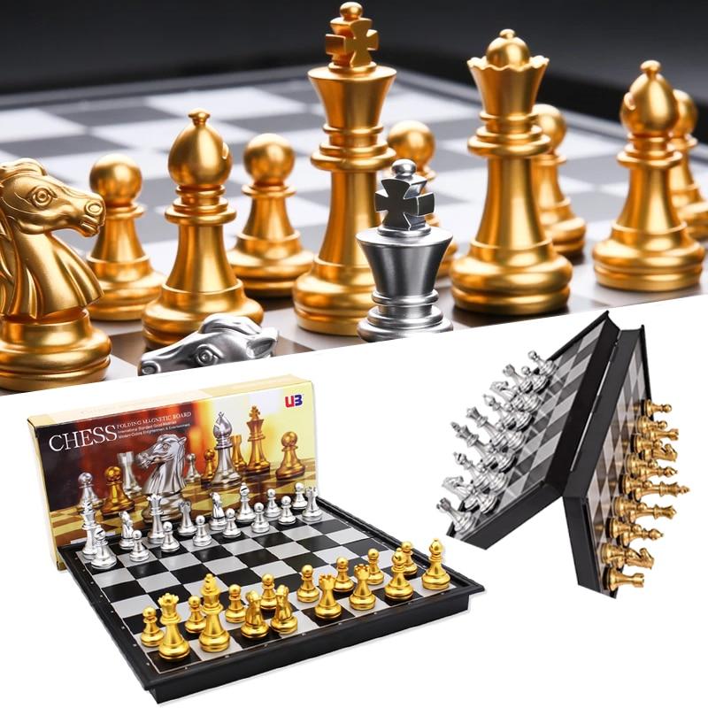 Магнитные международные Шахматные наборы, высокое качество, складные настольные игры с шахматной доской для детей и взрослых, подарок, разв...