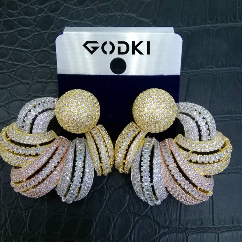 Godki luxo áfrica parafuso prisioneiro brinco para o casamento feminino indiano jóias de noiva completa zircão cúbico brincos pendientes mujer moda