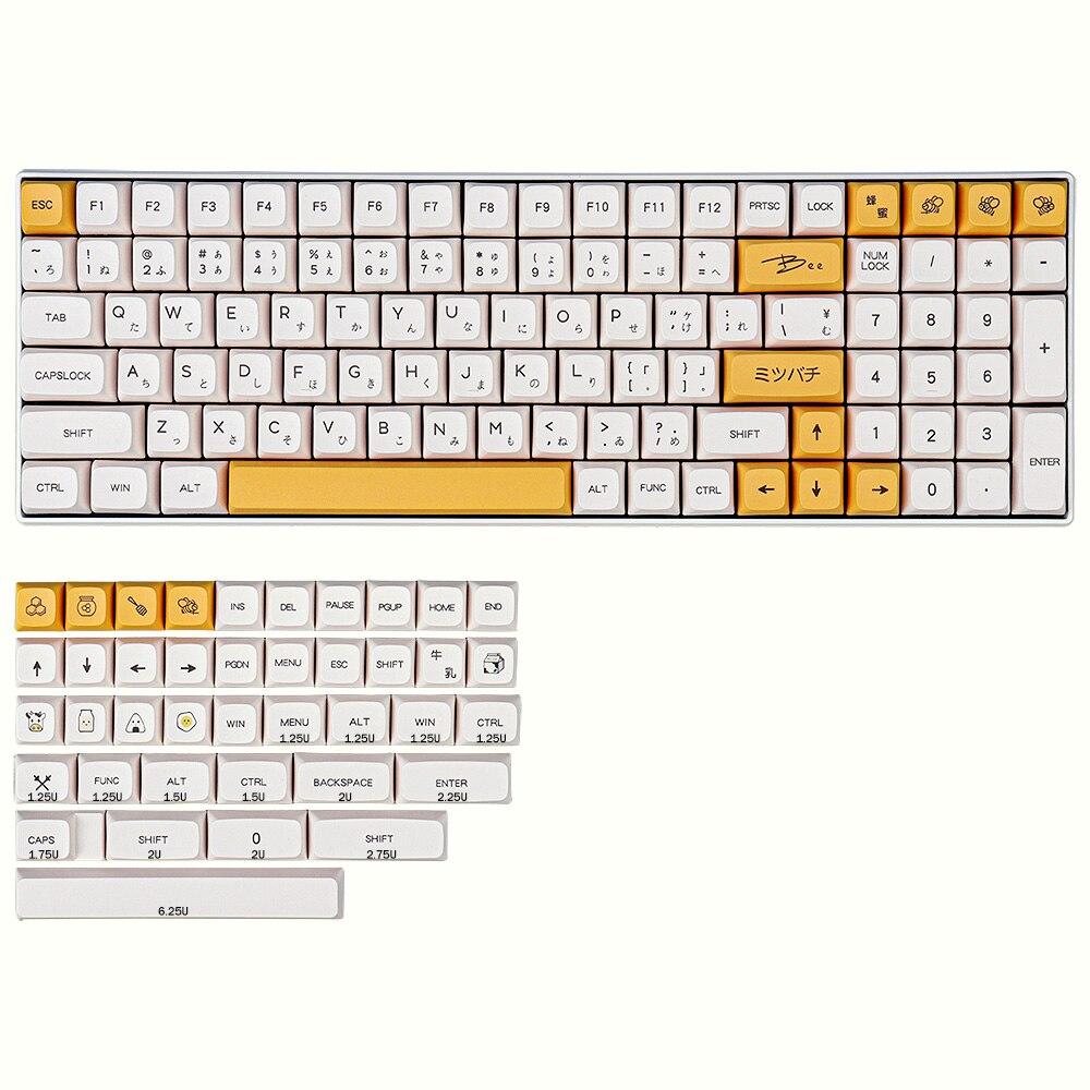 137 Key PBT Keycap DYE-SUB XDA Profile Personalized Minimalist White Honey Milk English Japanese Keycap For Mechanical Keyboard enlarge