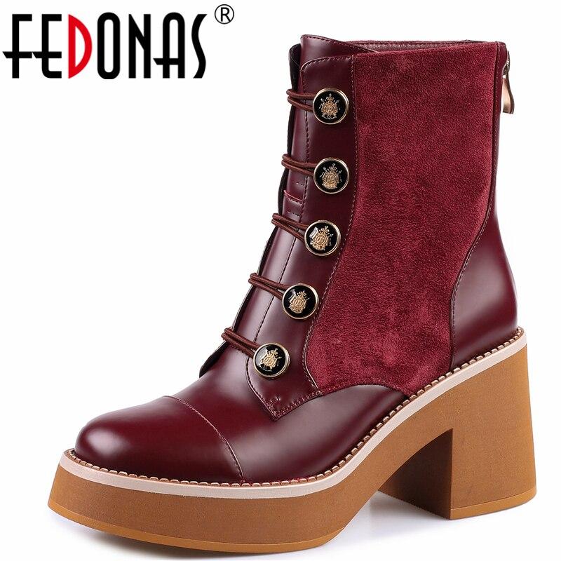 FEDONAS محايد الرجعية زر النساء حذاء من الجلد عالية الكعب منصات عودة زيبر الخريف الشتاء العلامة التجارية حقيقية أحذية من الجلد امرأة