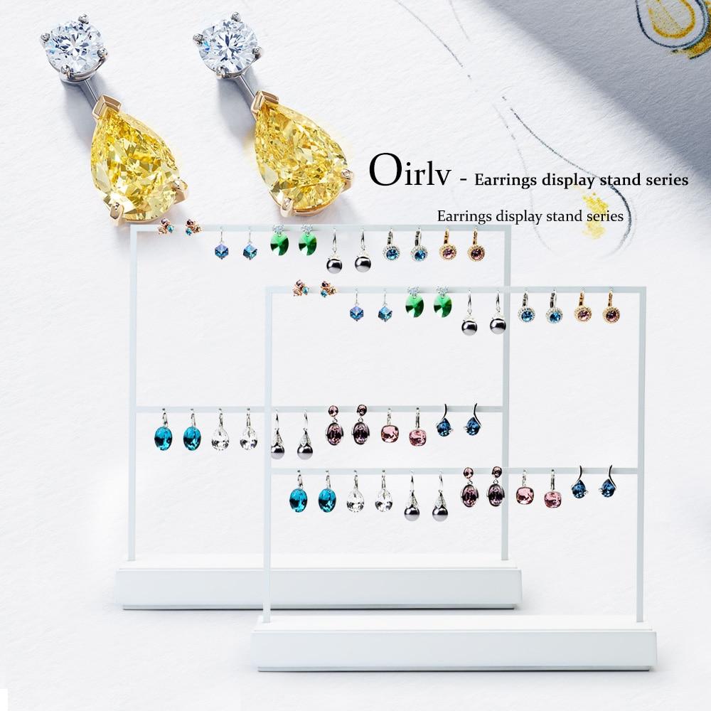 Oirlv, pendientes con marco de Metal blanco, expositor para pendientes, remaches perchero para pendientes, expositor para joyería, exhibidor, organizador de joyería