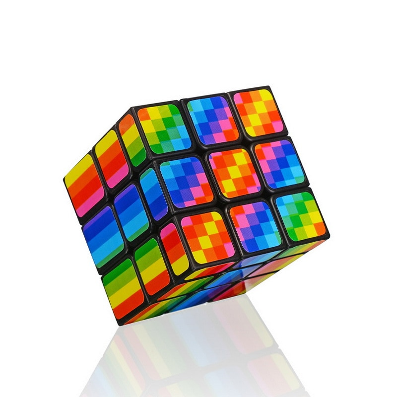 new 3x3 torsion magic cube magnetique coloful twisted cube puzzle toy stickerless puzzles colorful educational toy bandaged cube Magic Cube Magnetique Anti Stress  bandaged cube Rainbow PVC Sticker Speed Cubes Puzzle Neo Cube Children Educational Toys  gift