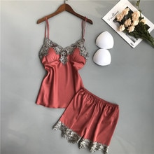 2021 Women Pajamas Sets with Shorts Sexy Satin Silk Summer Nightsuits V-neck Chest Pads Polyester Sl