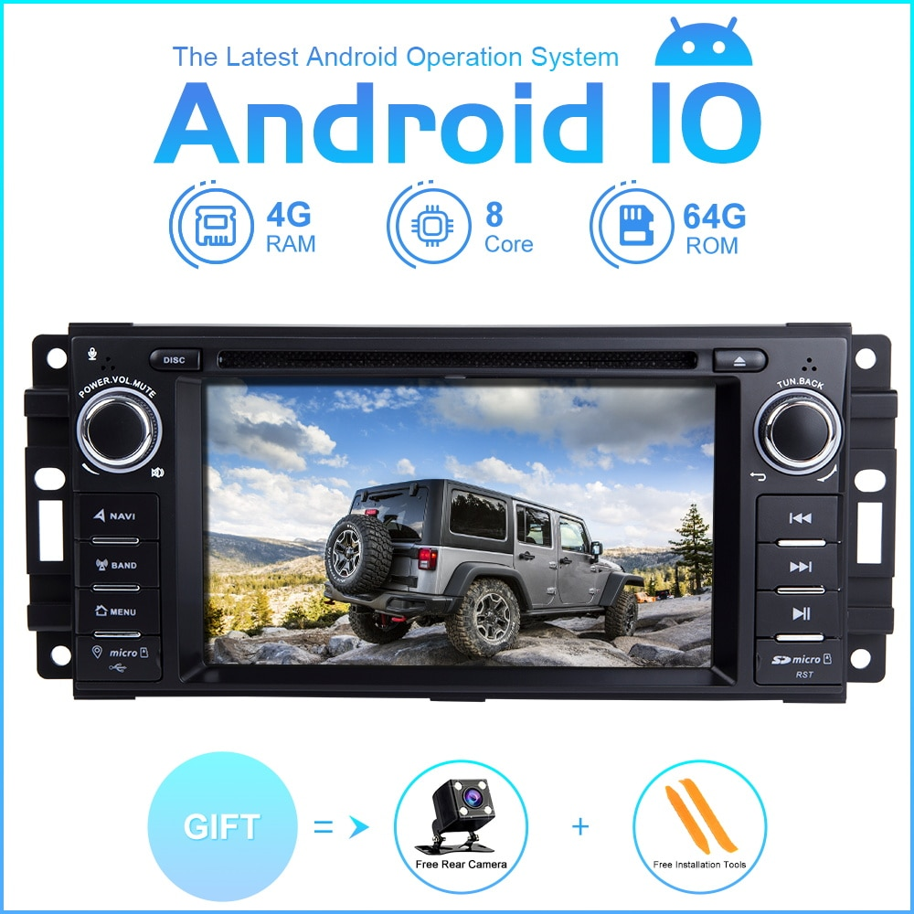 ZLTOOPAI coche reproductor Multimedia Android10 para Dodge Ram Challenger Jeep Wrangler JK coche GPS Radio estéreo reproductor de DVD 8 Core 64G