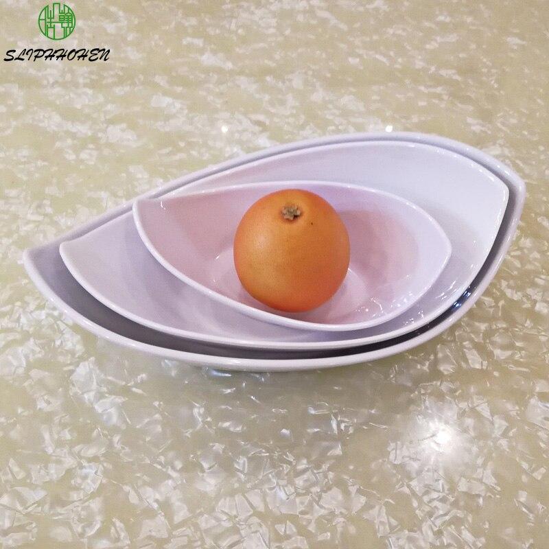 أدوات مائدة من البورسلين المقلد الأبيض ، طبق سلطة فواكه على شكل سبيكة ذهبية ، وعاء مطعم من الميلامين A5