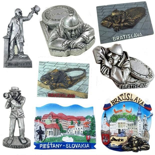 Eslováquia capital bratislava famosa estátua-gummi 3d frigorífico ímãs lembranças turismo geladeira adesivos magnéticos decoração da sua casa