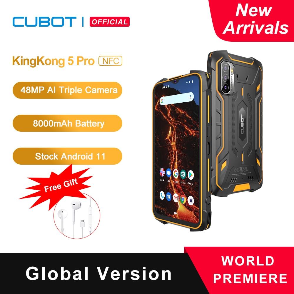 Перейти на Алиэкспресс и купить Cubot KingKong 5 Pro NFC Защищенный смартфон 2021 Android 11 Водонепроницаемый IP68/IP69K/MIL-STD-810 Глобальная 4G LTE Две SIM-карты Большая батарея 8000мАч 4ГБ+64ГБ 48МП Трой...