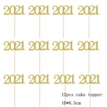 12 pièces 2021 gâteau Topper nouvel an 2021 cure-dents bonne année 2021 fête décoration fournitures décoration de gâteau noël gâteau décor