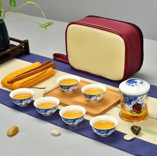 Glass ceramic liner cup of tea for binaural Blue Travel Kung Fu Tea Set for making Black Tea oolong puer tea