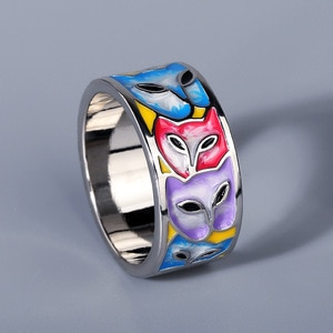 Delicate 925 Sterling Silver Exquisite Multicolor Enamel Ring for Female Cute Fox Pattern Animals Rings Jewelry Anniversary Gift