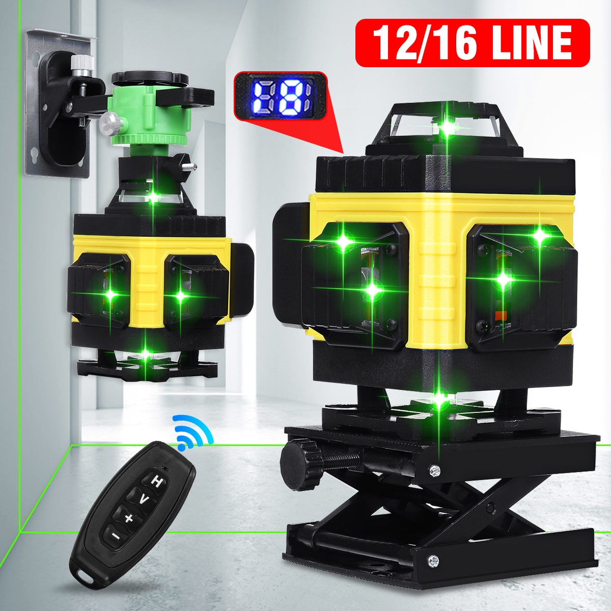 12/16 خط الليزر مستويات الضوء الأخضر 4D الذاتي التسوية 360 الأفقي والرأسي عبر قياس أدوات الليزر مستوى مع ترايبود