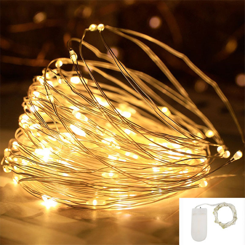 10m 5m led string lights silver wire fairy warm white garland home christmas wedding holiday party decoration powered by battery 2M 20LED Silver Wire Fairy Garland Lamp LED String Lights Christmas Wedding Home Party Decoration Powered By CR2032 Battery