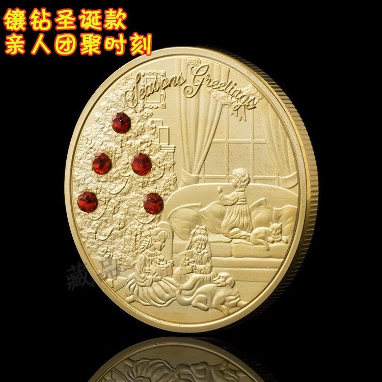Памятные монеты с алмазами на Рождество, позолоченная Рождественская елка, серебряные монеты, золотые монеты, подарки за любовь, коллекцион...
