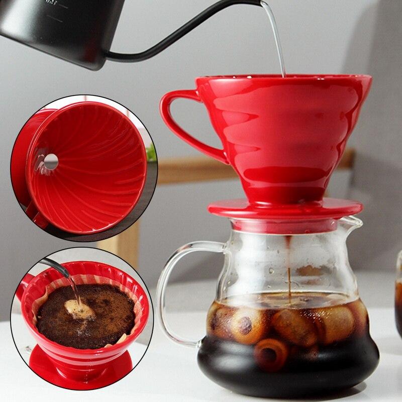 Motor de goteo de café de cerámica V60 estilo taza de filtro de goteo de café permanente verter sobre cafetera con separado para 1-4 tazas #6