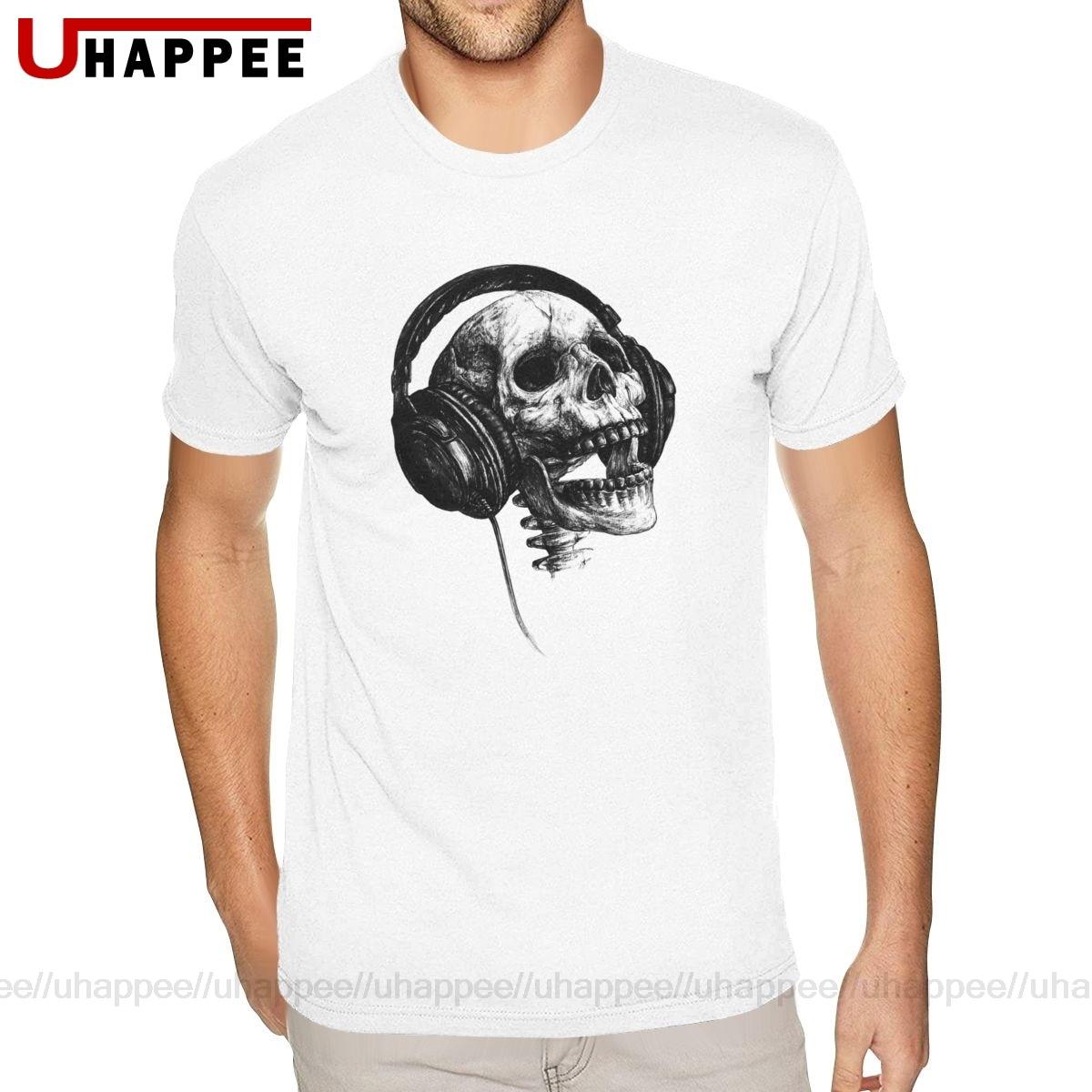 Cheap Custom Skull With Music Headset Rock Forever Tee Shirts Mens Custom Made Short Sleeve Premium Cotton Crew Neck Tshirt