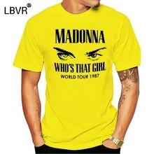 Madonna T-Shirt do Rock Dos Homens Branco Ou Cinza Personalizado Camiseta Para Mens Casual T-Shirt de Impressão Curto-de Mangas Compridas dos homens tshirt Roupas