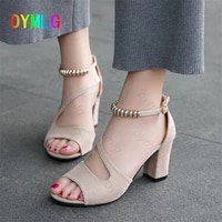 2021 summer new fish mouth beaded roman sandals female thick with one word buckle mid heel casual shoes high heels heels women