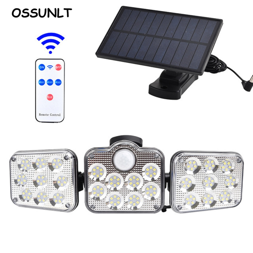 LED Solar Lights Outdoor Waterproof 3 Head Motion Sensor Super Bright Remote Control Wall Lamp Garage Street Light Luces Solares