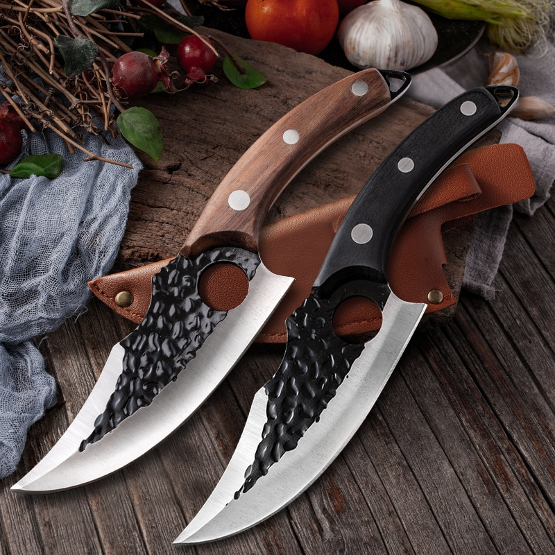 Forged Fishing Knife with Sheath Outdoor Survival Hunting Knife Stainless Steel Butcher Meat Cleaver Boning Kitchen Chef Knife