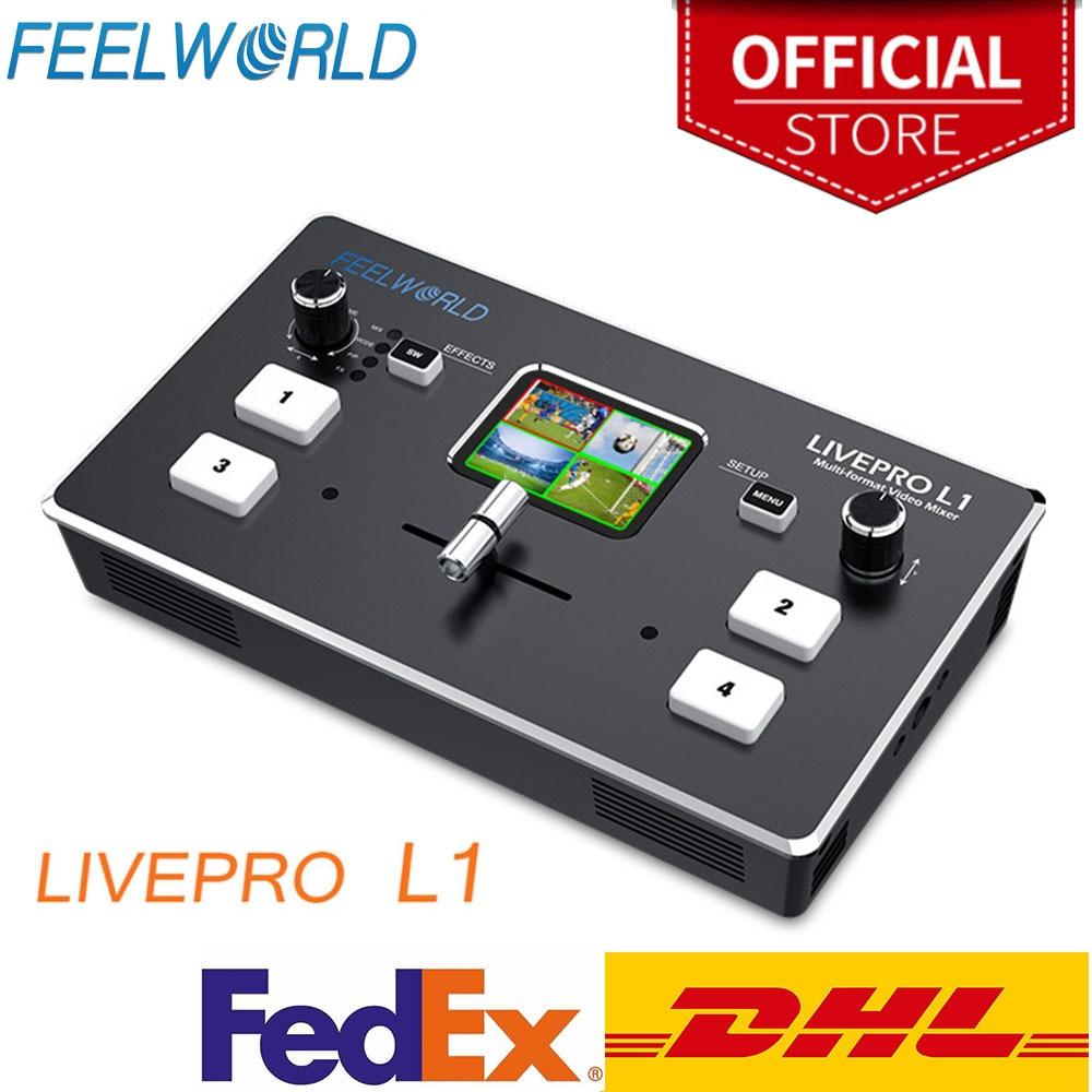 Feel world متعدد تنسيق الفيديو خلاط الجلاد USB3.0 4 HDMI المدخلات إنتاج الكاميرا للبث المباشر LIVEPRO L1