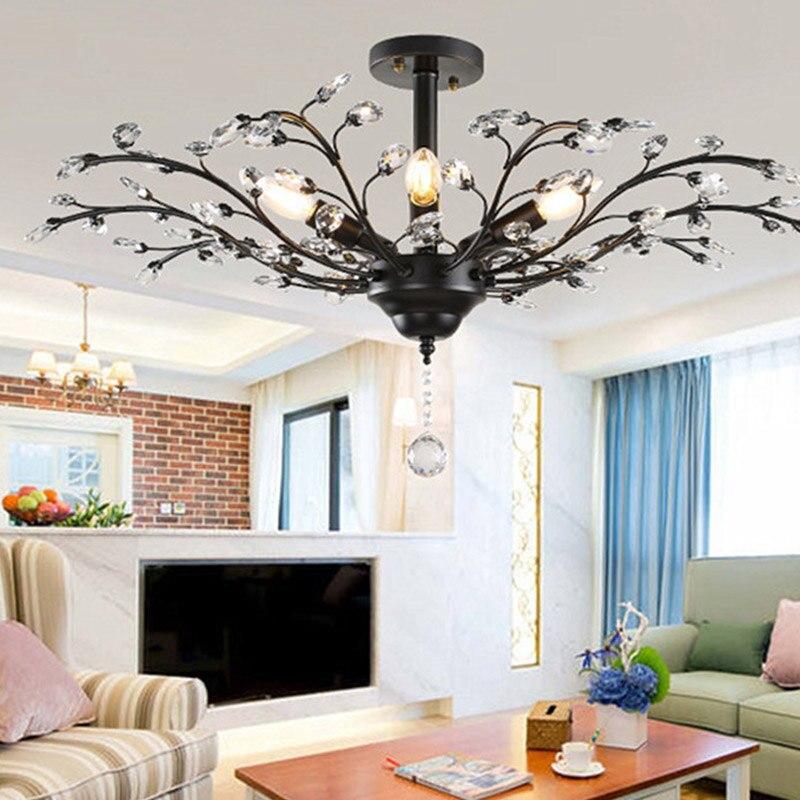 الحديثة الأمريكية الكريستال ضوء السقف E14 LED الإبداعية شخصية مصباح السقف لغرفة المعيشة غرفة نوم فندق قاعة مطعم