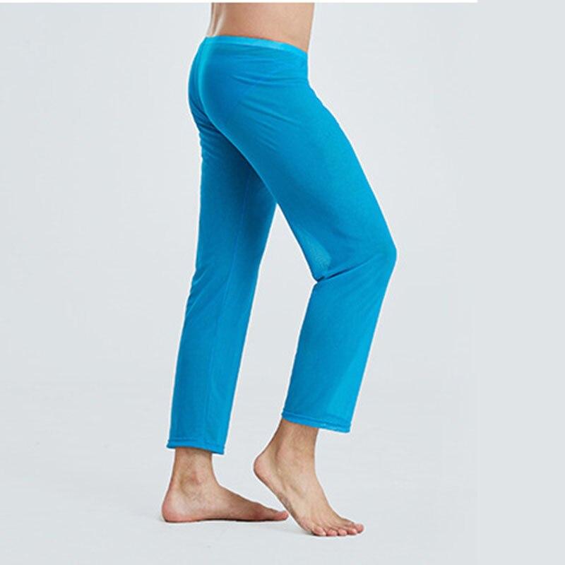 Пижамы для мужчин ropa интерьер hombre прозрачность пижама homme сетка сексуальное нижнее белье одежда для сна дом брюки эластичность пижама брюки