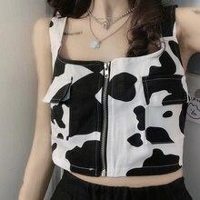 INS Super Popular Loose Outer Wear Vest Female Black and White Contrast Color Cow Print Vest Summer