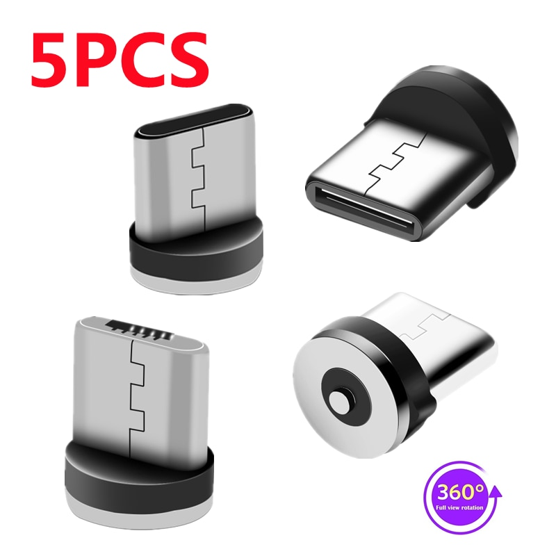 5PCS 360 Rotation Type C Micro USB Magnetic Charger Plug Connector For Mobile Phone Replacement Part
