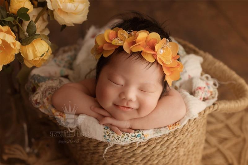 Baby photo prop basket newborn photography props photography accessories Hemp rope weaving props