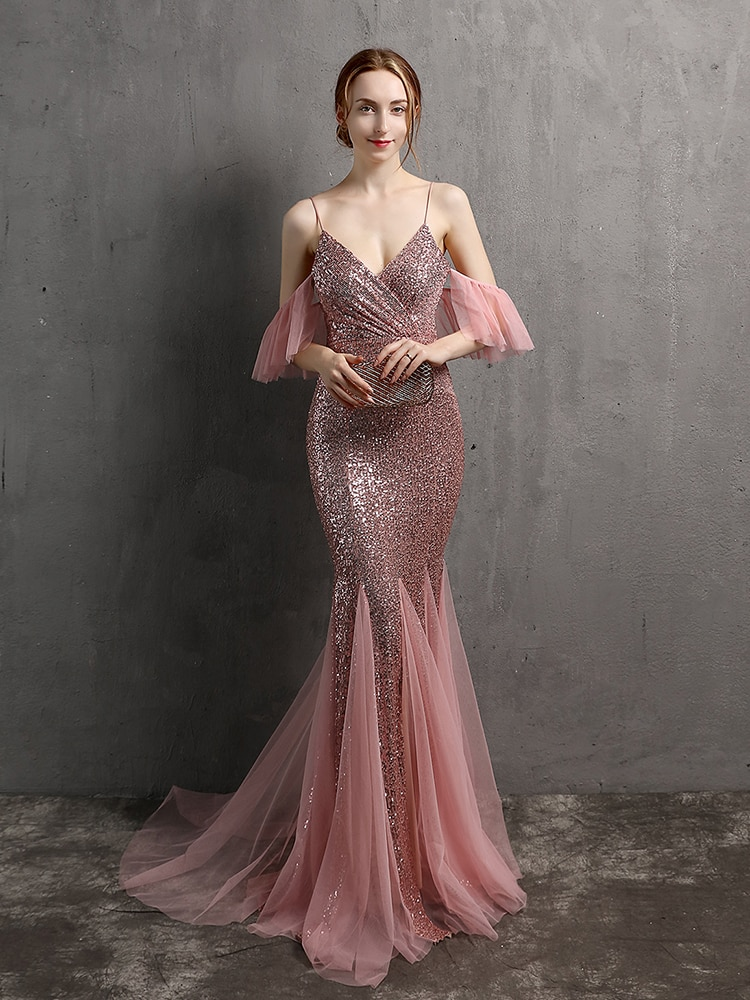 XUCTHHC-فستان سهرة وردي مع أحزمة سباغيتي وأكمام مكشكشة ، فستان حورية البحر ، فستان حفلة موسيقية مطرزة ، طول الأرض ، 2021
