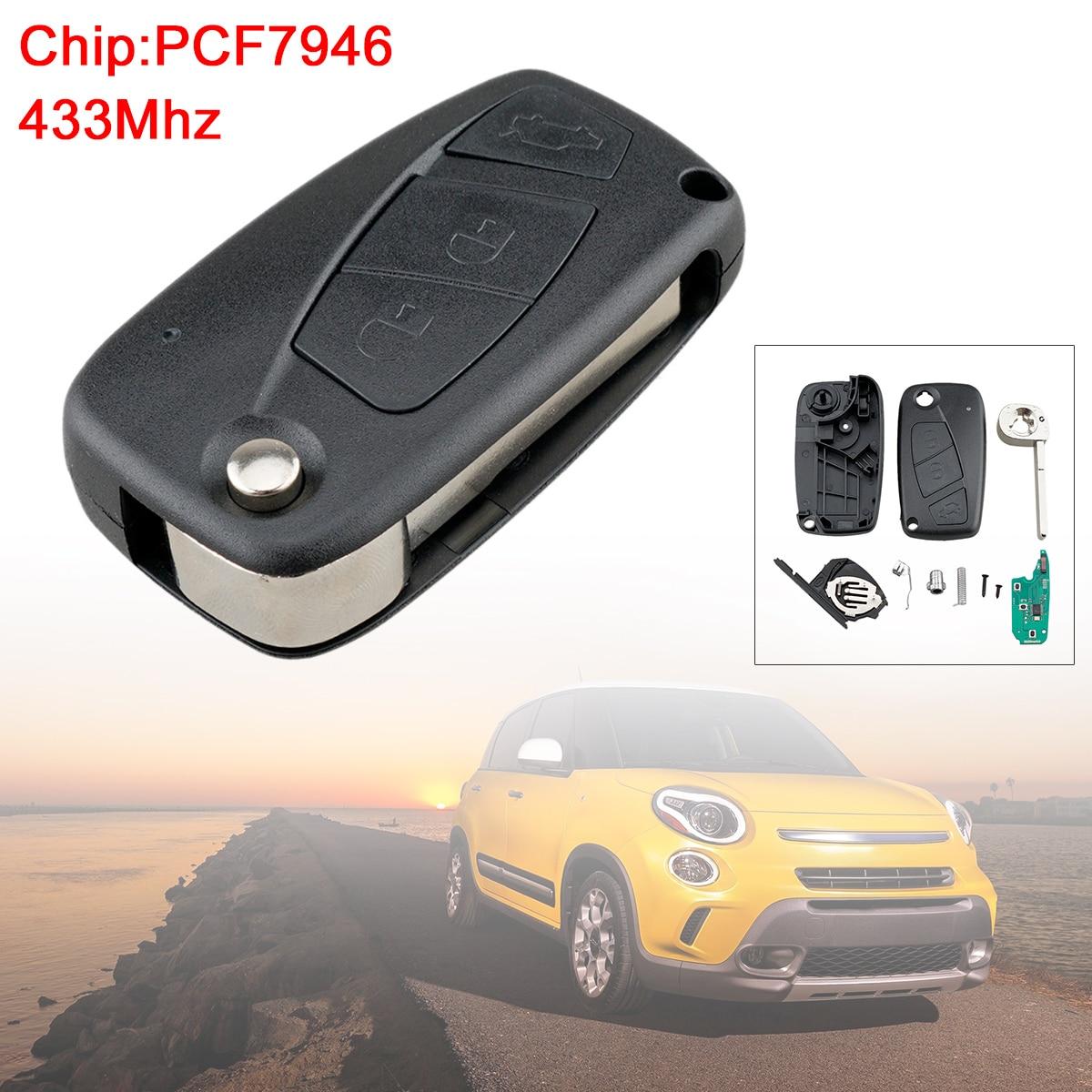 433 mhz 3 botões do carro da aleta substituição remota chave fob com chip pcf7946 preto apto para fiat 500 panda punto bravo ideia ducato
