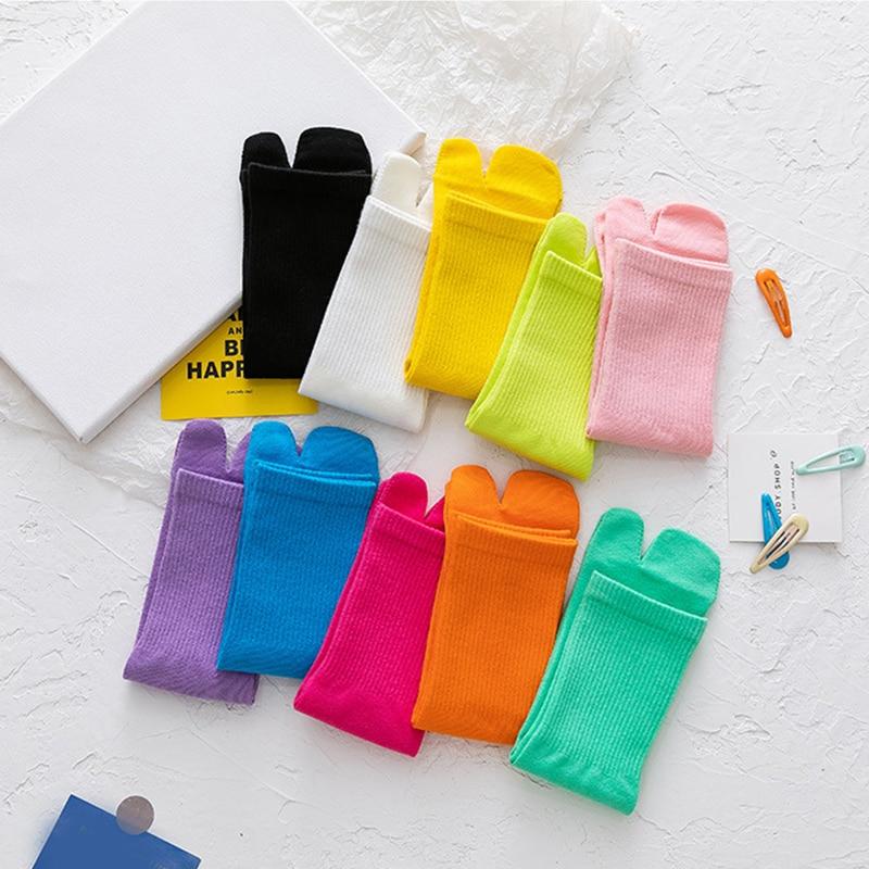 Летние Женские однотонные чулки, хлопковые высокие носки, нескользящие носки с двумя пальцами, удобные чулки, красивые модные носки