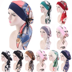 Muslim Print Flowers Turban Hat Islamic Women Inner Hijab Cap Arab Wrap Head Scarves Femme Fashion Turban Cap Hair Accessories