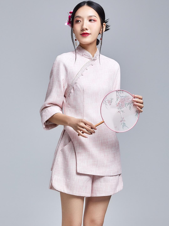 2021 Spring Dress New Chinese Style Retro Fashion Lace Improved Short Cheongsam Top Set