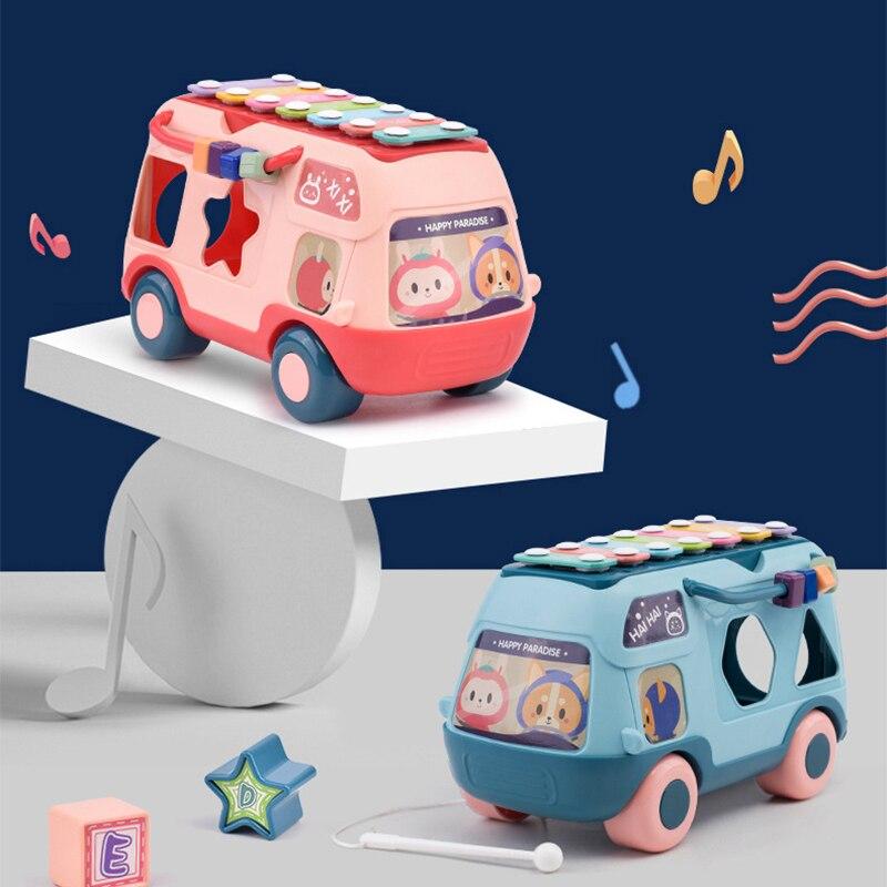 Детский ксилофон, игрушки в автобусе, Детские Многофункциональные Ранние обучающие когнитивные игрушки-машинки для обучения, музыкальный ...