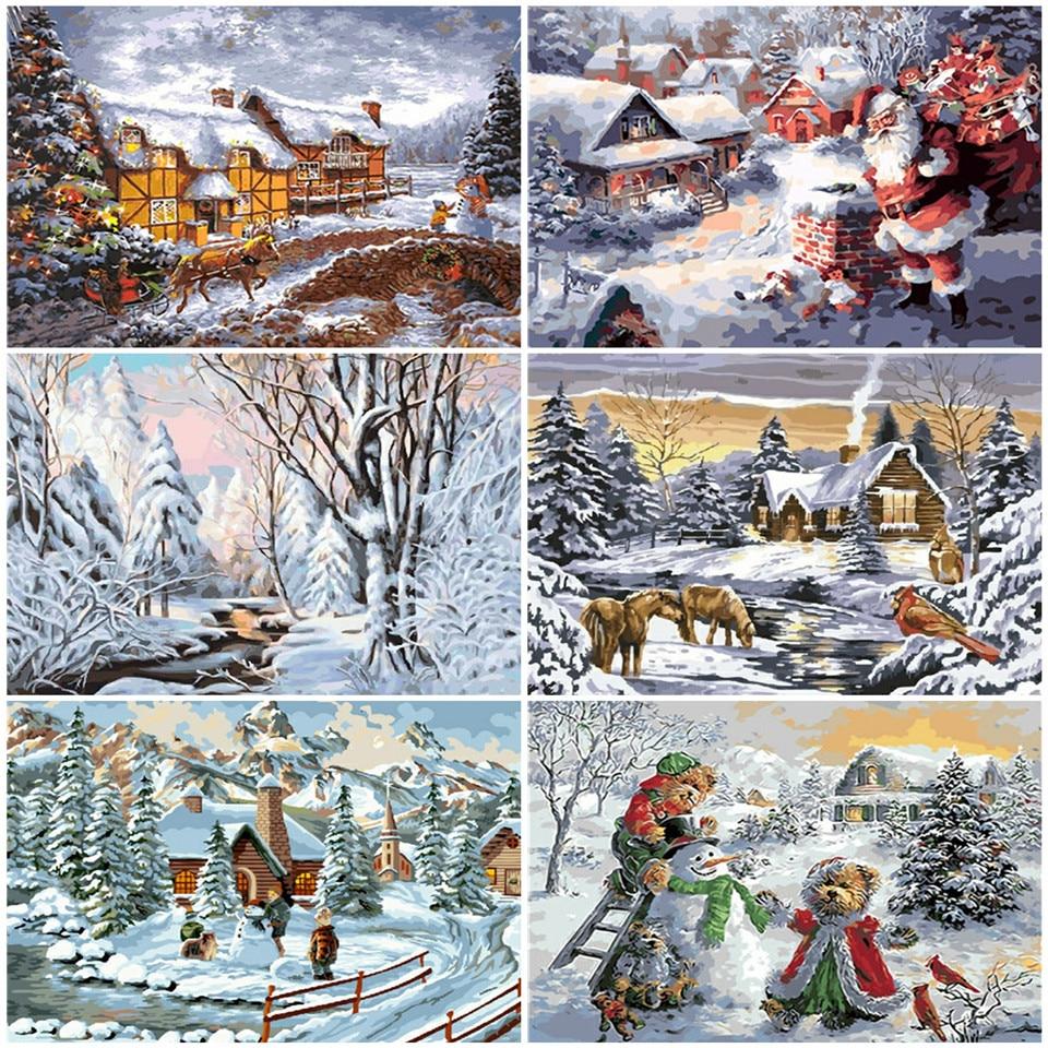 AZQSD DIY, regalo de Navidad, pintura por número, Kits de pintura en lienzo, pintura de paisaje de invierno, pintura por números, muñeco de nieve, decoración del hogar