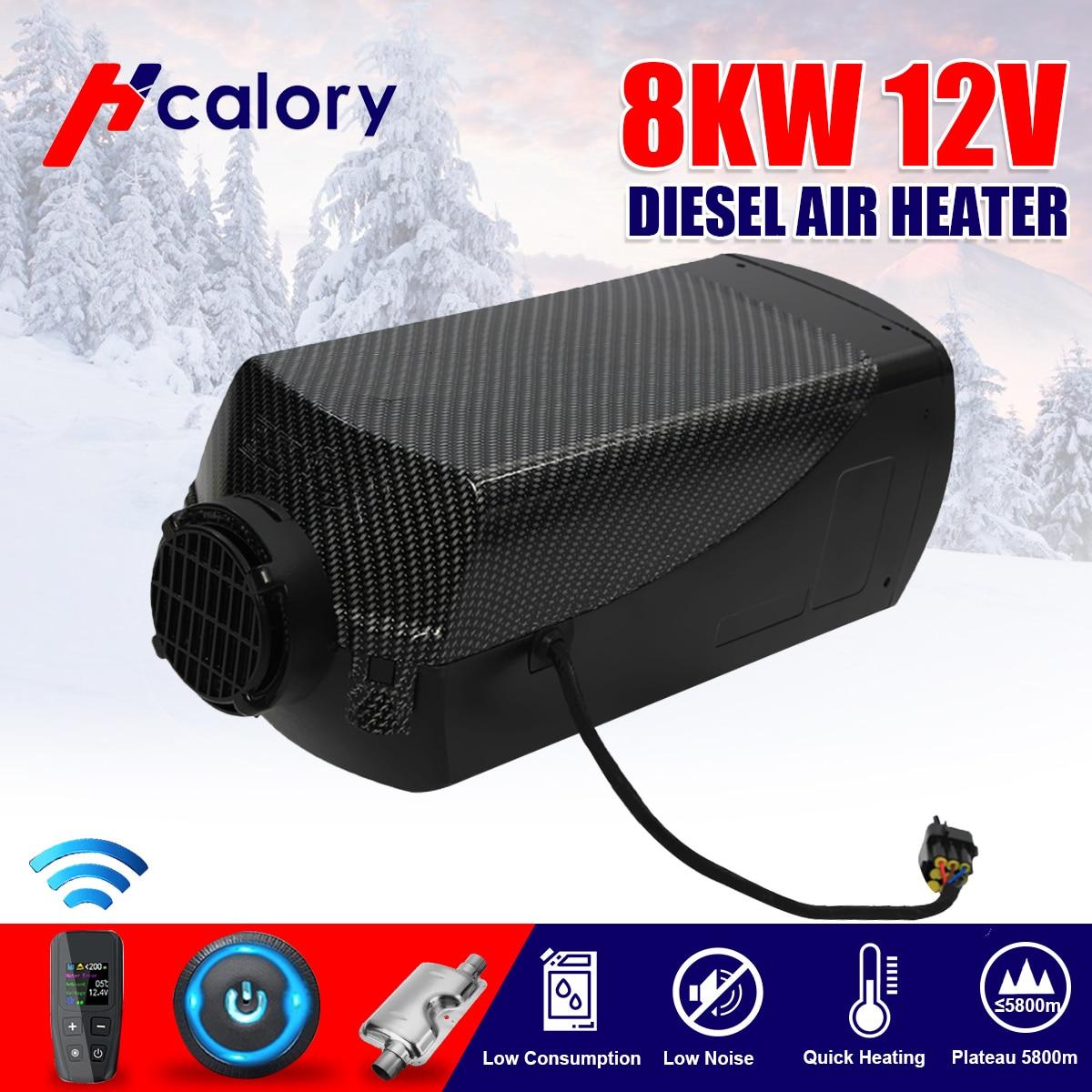 Calentador de aire diésel de 12V 8000W, nuevo interruptor LCD + máquina de Control remoto integrado para furgoneta, barco, autobús RV
