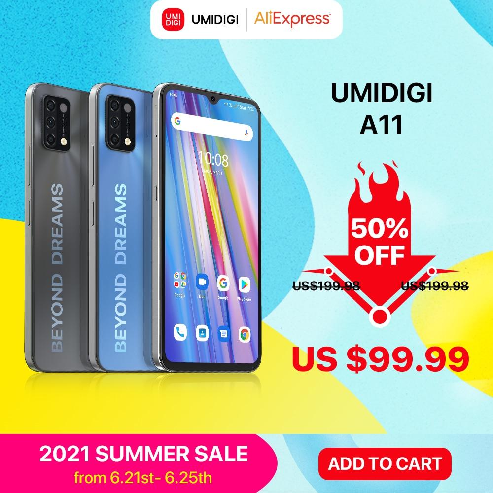 Перейти на Алиэкспресс и купить [В наличии] UMIDIGI A11 глобальная версия Android 11 смартфон Helio G25 64 Гб 128 ГБ 6,53 дюймHD + 16MP тройной Камера 5150 мА/ч, мобильный телефон
