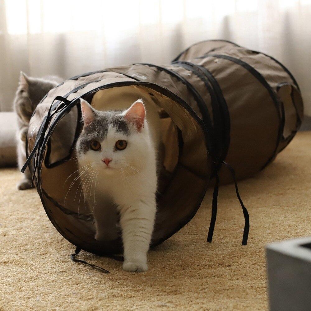 Túnel de gato de tamaño grande de 130cm de diámetro largo de 30cm divertido forma de S plegable mascota cachorro gatito conejo juguete interactivo juego de ejercicio