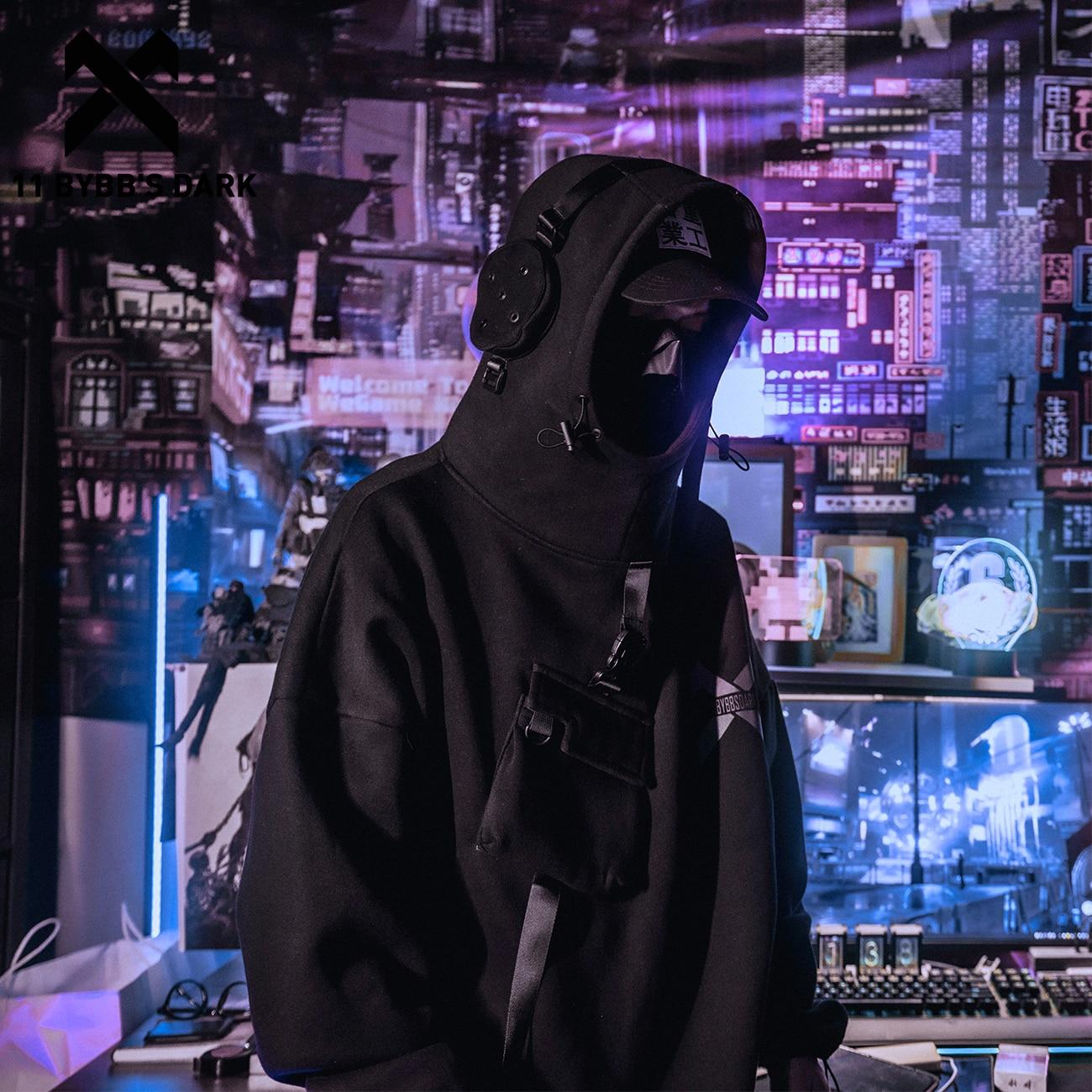11 BYBB'S الظلام عاكس Harajuku هوديي الرجال الهيب هوب الشارع الشهير هوديي البلوز رجل رائد الفضاء ملابس علوية من القطن البلوفرات Techwear