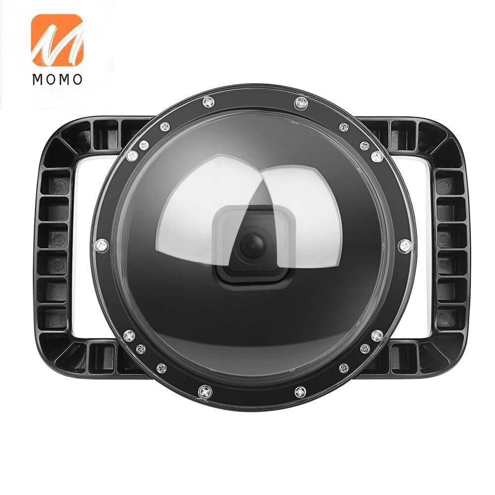 تبادل لاطلاق النار تحت الماء قبة ميناء ل GoPro بطل 8 أسود مقاوم للماء الإسكان قبة مع مقبض مزدوج استقرار قبضة ل الغوص التصوير