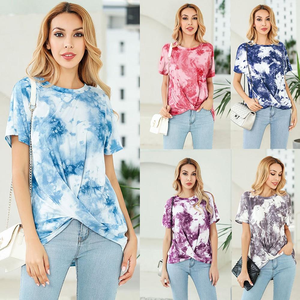 Harajuku Camiseta de manga corta cuello redondo Tie-dye Kink Streetwear divertidas camisetas Kyku o-cuello estampado corto Casual Tops de algodón