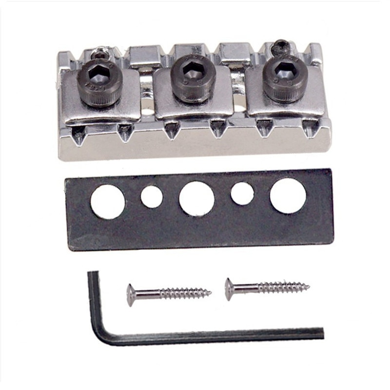A set of 42.5mm Chrome Adjustable Electric Guitar Locking Nut For Tremolo Bridge guitar accessories parts Musical instruments ootdty guitar tremolo locking nut 3 clamp 3 screws for electric neck