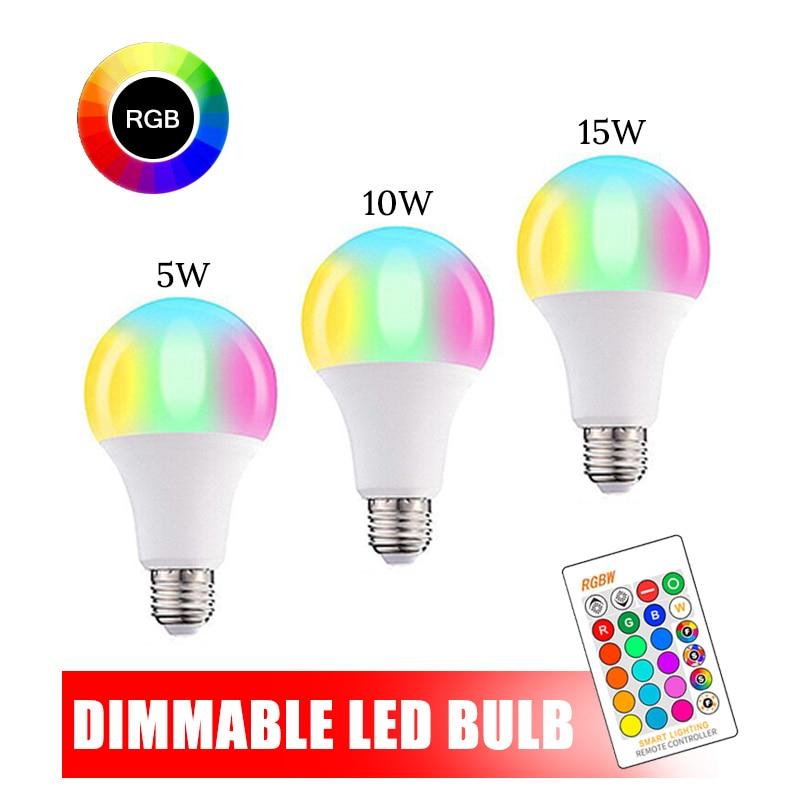 Bombilla inteligente LED E27, 15W, con Bluetooth, 5W, 10W, RGB, luz de cambio de Color, Compatible con IOS y Android