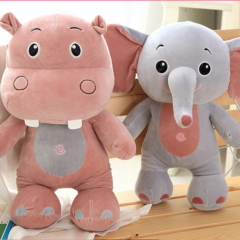 Super Soft Elephant&Hippo&Rhinoceros Plush Toy Cute Hippopotamus Cartoon Stuffed Animal Doll Baby Pillow Toys Kids Birthday Gift