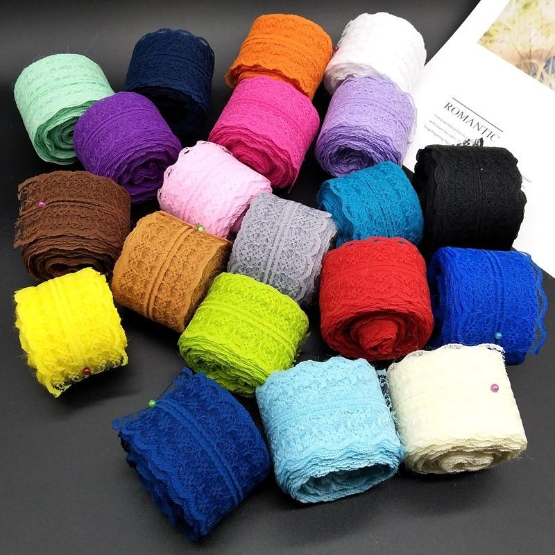 Accesorios florales coloridos de tela de cinta para manualidades DIY de encaje, accesorios de decoración de ropa, bordado Bilateral 4,5 cm de ancho 62492