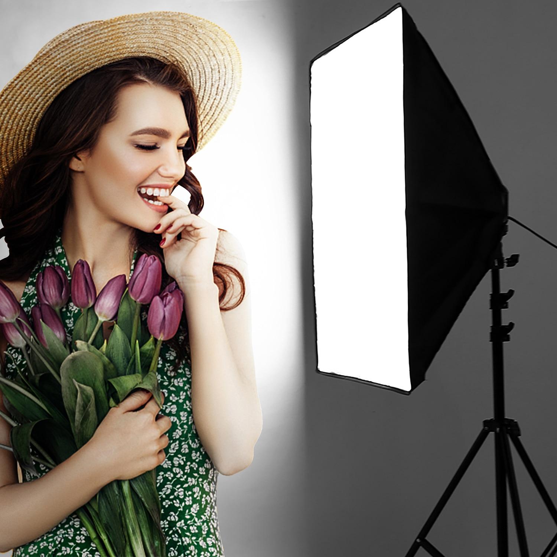 Photography Lighting 2m Light Tripod stand +50*70CM Photo Studio Softbox +50W Dimmable LED lamp Bulb