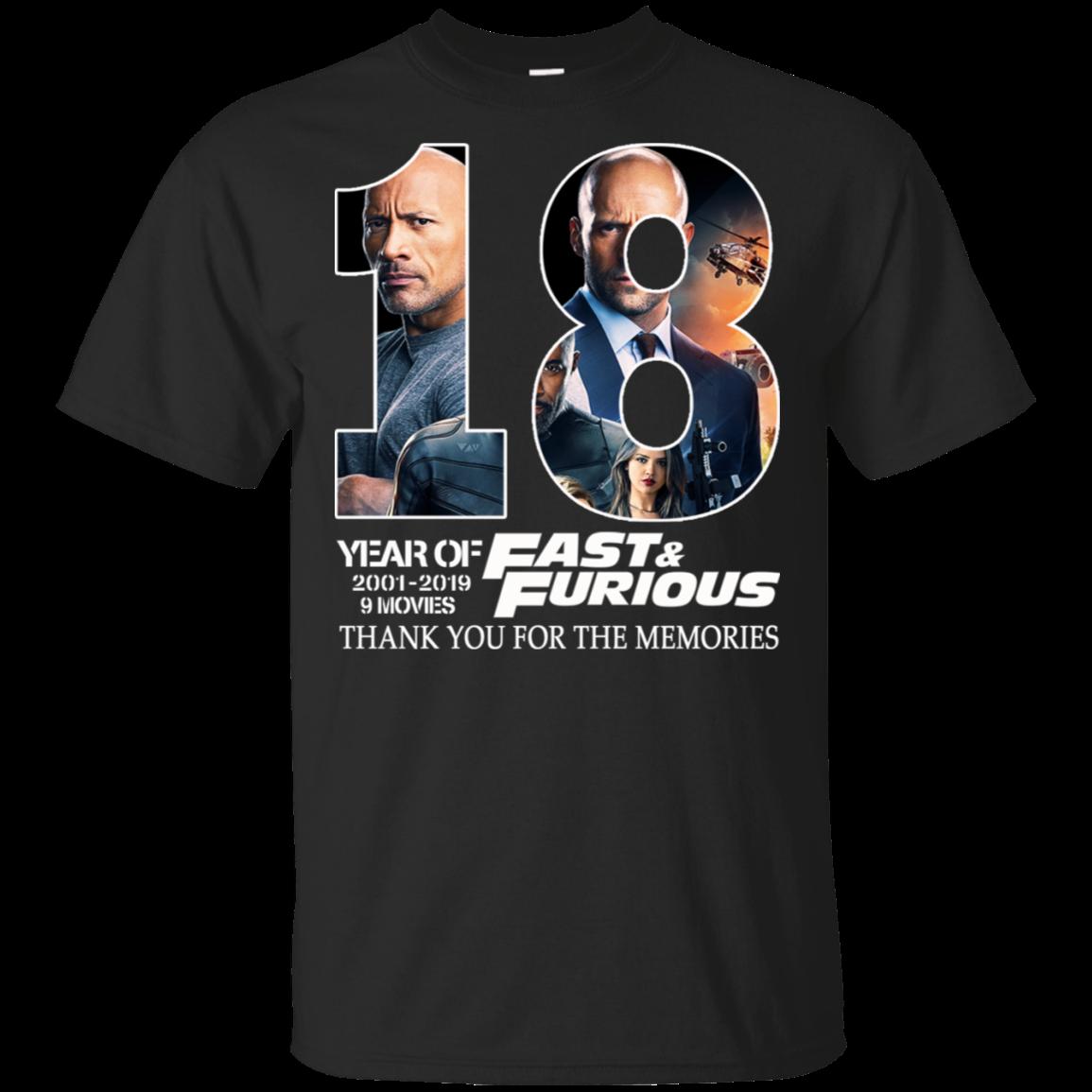 18 rápido y furioso 2019 aniverssary firma negro Johnson y Jason sStatham hipster descuento nueva camiseta