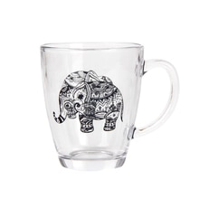 Tasses à café café en verre Transparent   Design éléphant créatif de dessin animé bureau de maison café Latte de Cappuccino lait tasse de thé meilleurs amis cadeaux