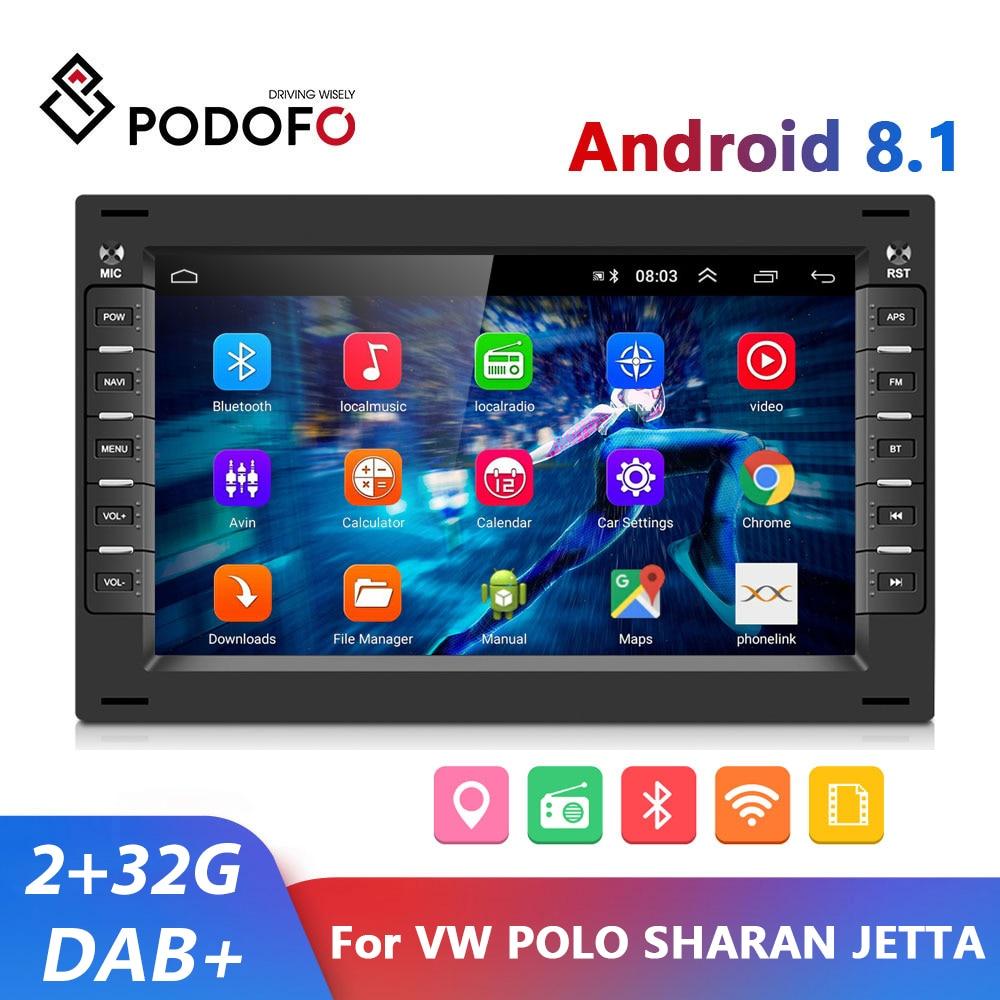 Podofo-راديو السيارة Android 8.1 ، GPS ، مشغل الوسائط ، 2 din ، لـ VW GOLF ، POLO ، TRANSPORTER ، Passat b5 ، BORA MK5 ، SHARAN ، JETTA
